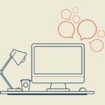 Illustration of computer on desk